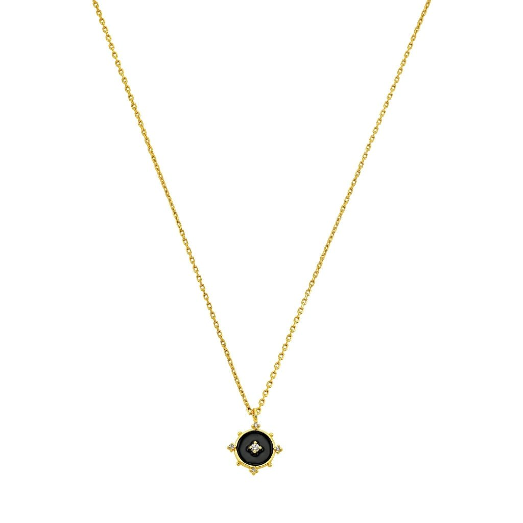 Aurora Black Orion's Belt Necklace | White CZ / Black Enamel | Gold Plated 925 Silver - Spirito Rosa | Βραβευμένα Κοσμήματα σε Απίστευτες Τιμές