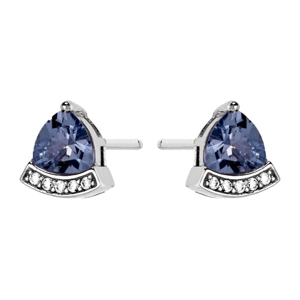 Aurora Blue Drop Earrings | White CZ / Sapphire CZ | White Rhodium Plated 925 Silver - Spirito Rosa | Βραβευμένα Κοσμήματα σε Απίστευτες Τιμές
