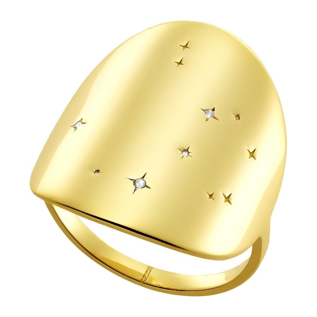 Aurora Constellation Ring | White CZ | Gold Plated 925 Silver - Spirito Rosa | Βραβευμένα Κοσμήματα σε Απίστευτες Τιμές