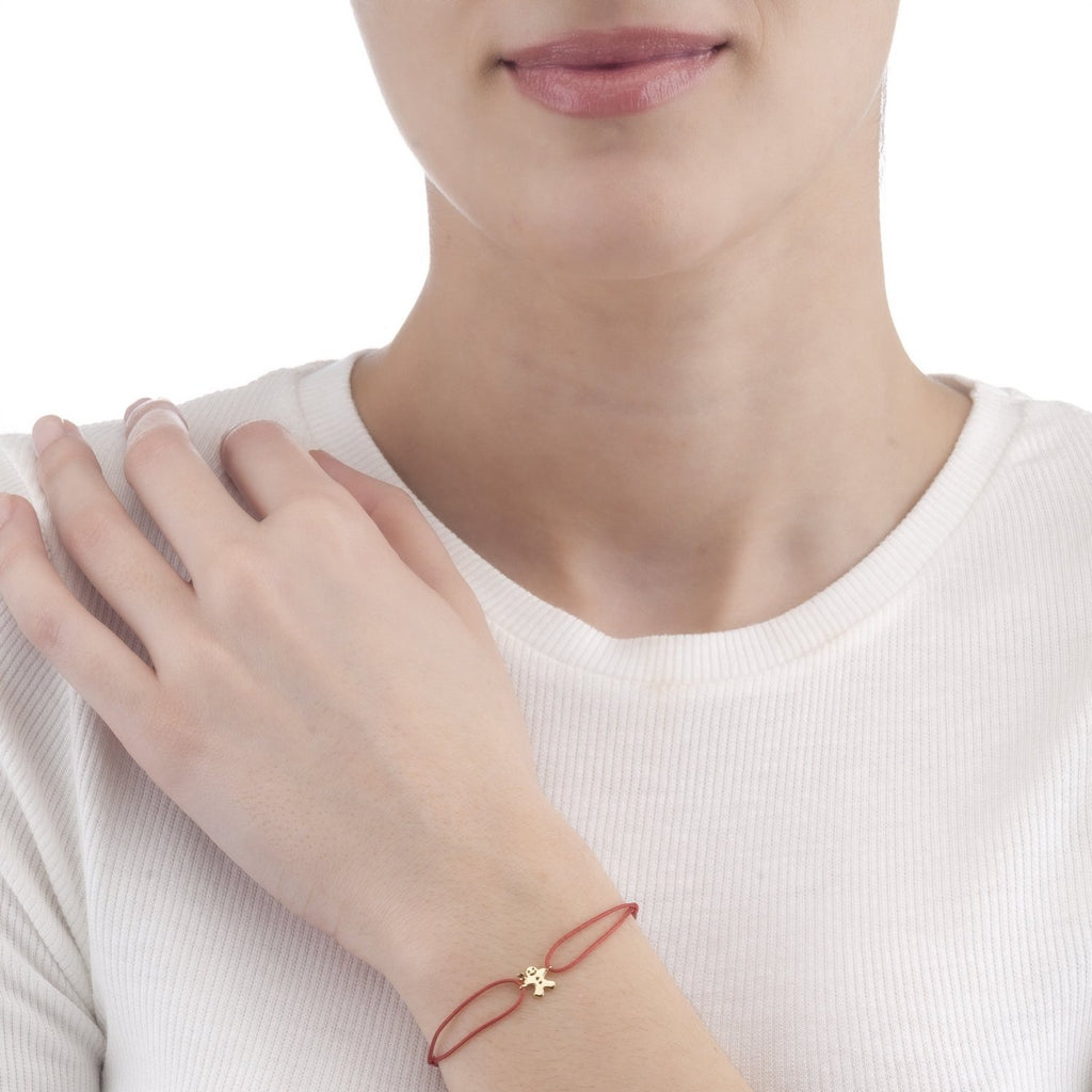 Aurora Gingerbread Man Bracelet | Ruby CZ | Gold Plated 925 Silver & Red Thread - Spirito Rosa | Βραβευμένα Κοσμήματα σε Απίστευτες Τιμές