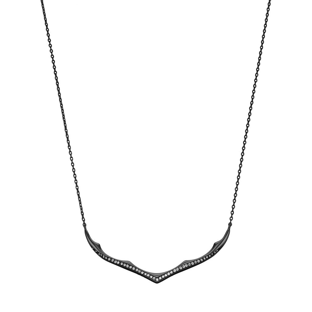 Aurora Horn Necklace | White CZ | Black Rhodium Plated 925 Silver - Spirito Rosa | Βραβευμένα Κοσμήματα σε Απίστευτες Τιμές