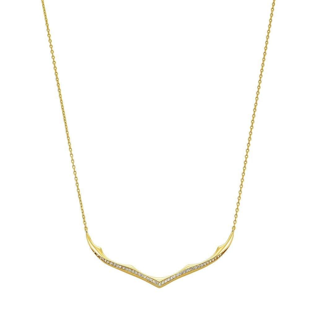Aurora Horn Necklace | White CZ | Gold Plated 925 Silver - Spirito Rosa | Βραβευμένα Κοσμήματα σε Απίστευτες Τιμές