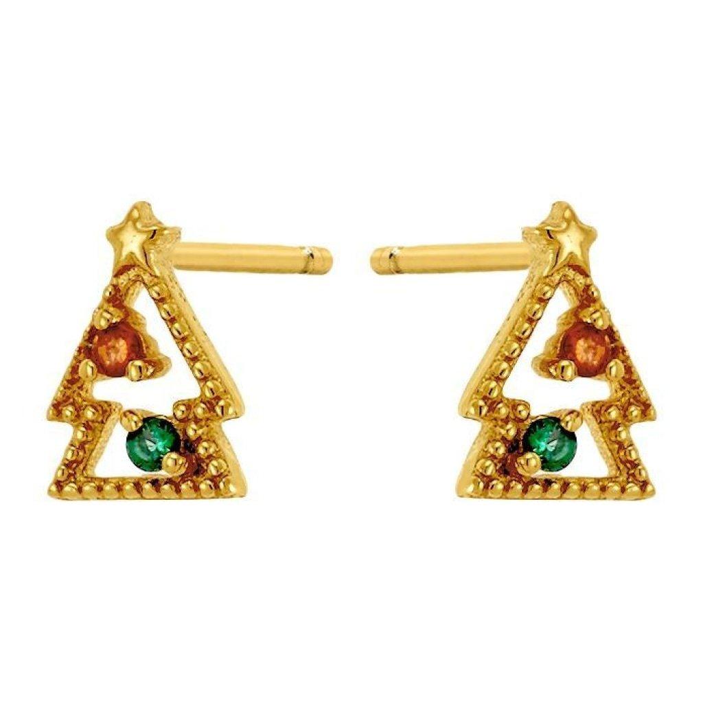 Aurora Oh Christmas Tree Earrings | Emerald CZ / Ruby CZ | Gold Plated 925 Silver - Spirito Rosa | Βραβευμένα Κοσμήματα σε Απίστευτες Τιμές