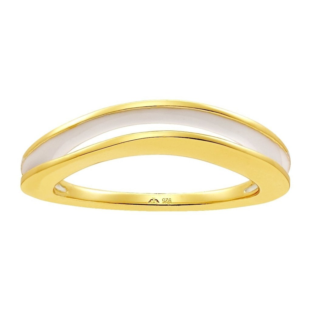 Aurora Squished Sandwich Ring | White Enamel | Gold Plated 925 Silver - Spirito Rosa | Βραβευμένα Κοσμήματα σε Απίστευτες Τιμές