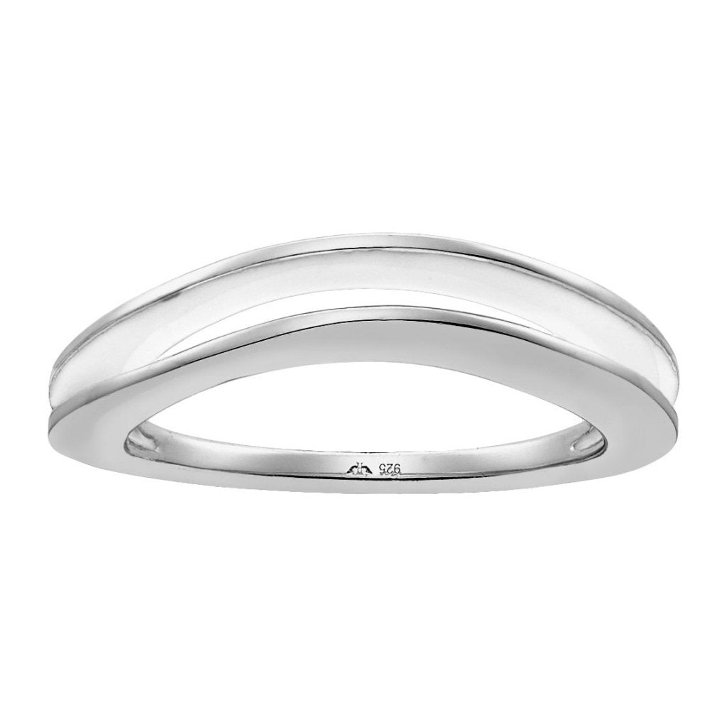 Aurora Squished Sandwich Ring | White Enamel | White Rhodium Plated 925 Silver - Spirito Rosa | Βραβευμένα Κοσμήματα σε Απίστευτες Τιμές