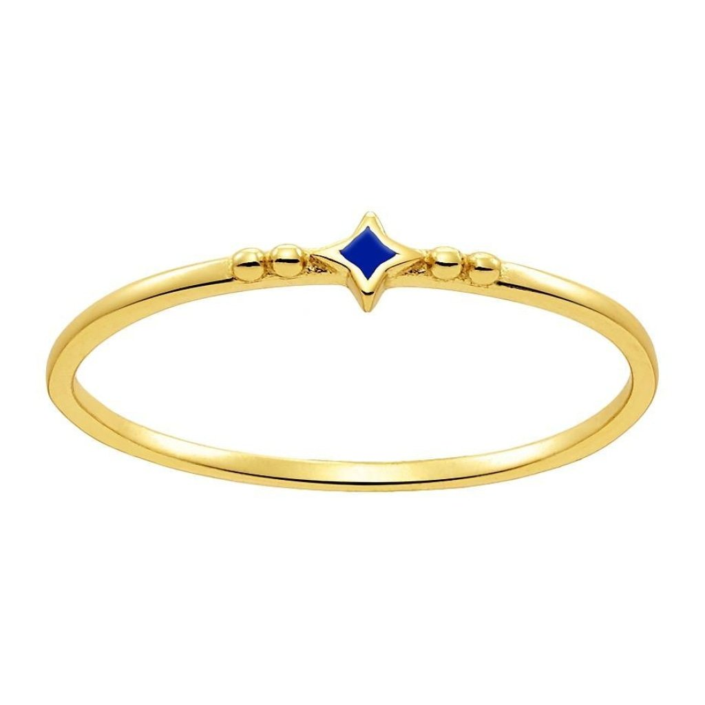 Aurora Tiny Star Ring | Blue Enamel | Gold Plated 925 Silver - Spirito Rosa | Βραβευμένα Κοσμήματα σε Απίστευτες Τιμές