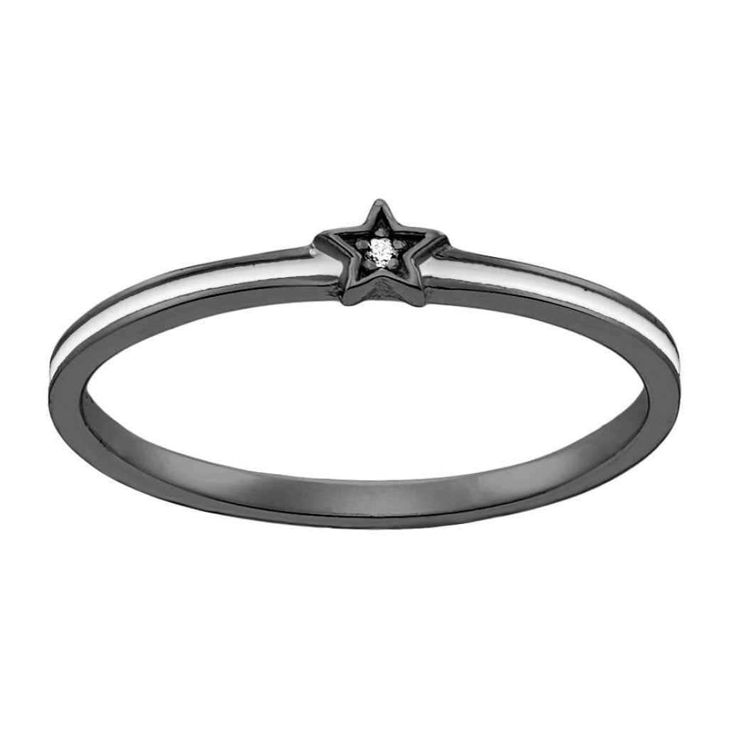 Aurora Tiny White Star Ring | White CZ White Enamel | Black Rhodium Plated 925 Silver - Spirito Rosa | Βραβευμένα Κοσμήματα σε Απίστευτες Τιμές