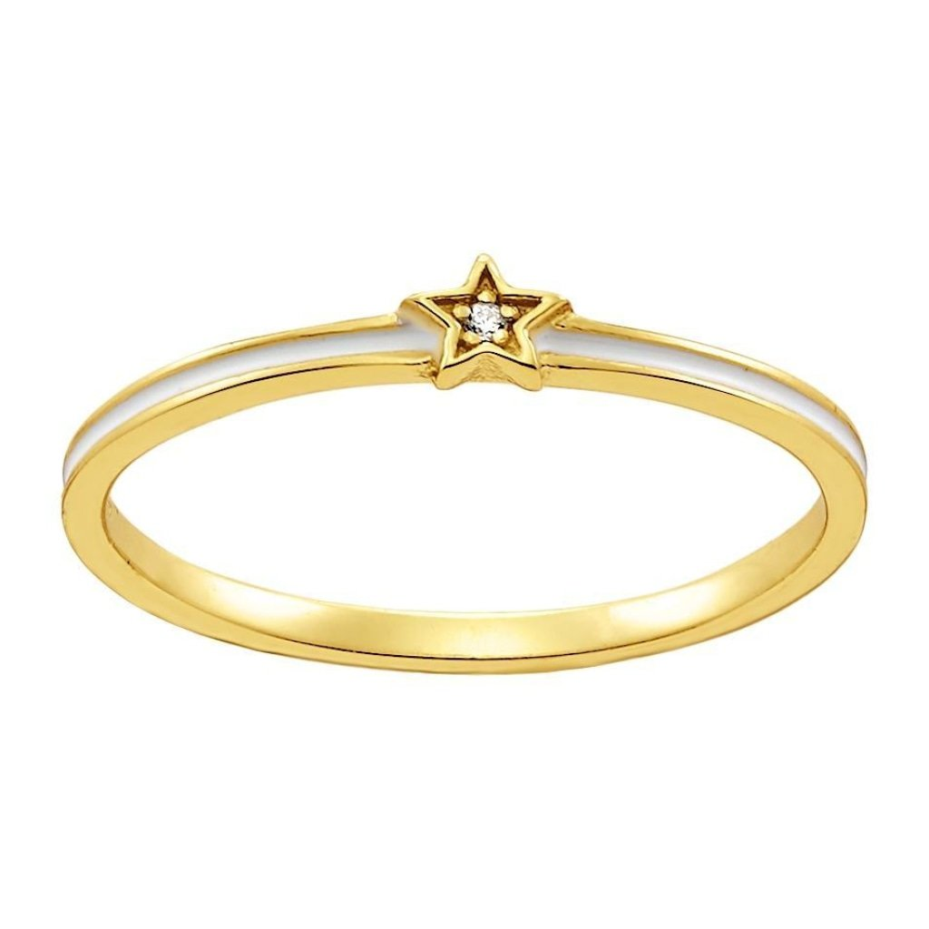 Aurora Tiny White Star Ring | White CZ / White Enamel | Gold Plated 925 Silver - Spirito Rosa | Βραβευμένα Κοσμήματα σε Απίστευτες Τιμές