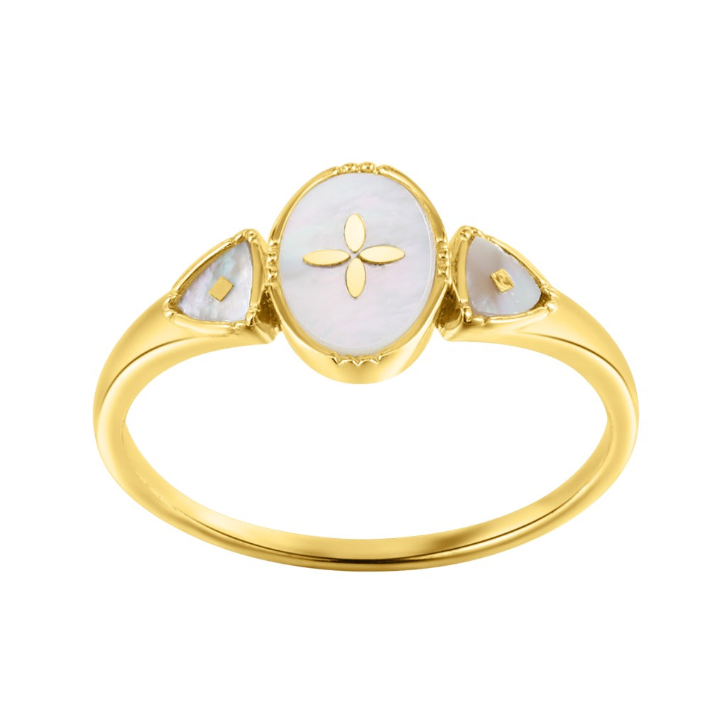 Spirito Rosa x Queen Dina Fall | Oceane Ring | 925 Silver | Mother of Pearl | 14K Gold Plated