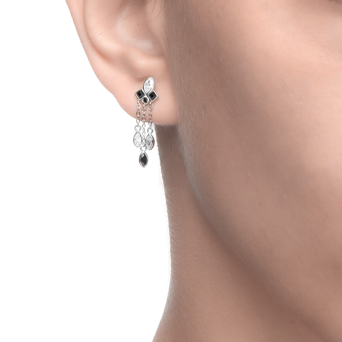 Ferentina | Panettone Earrings | Black & White CZ | Rhodium Plated 925 Silver