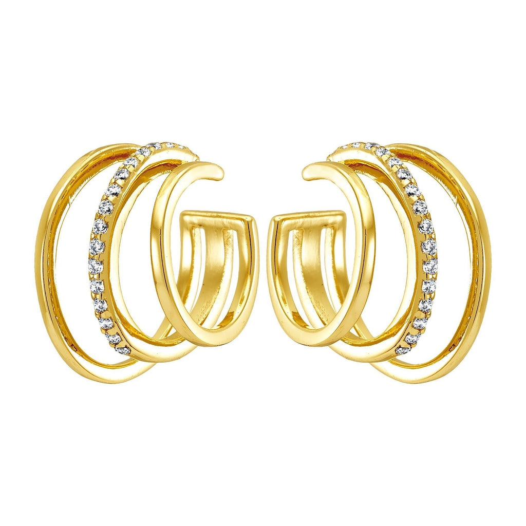 Bellona | 3 Hoops Earclip | White CZ | 925 Silver | 14K Gold Plated - Spirito Rosa | Βραβευμένα Κοσμήματα σε Απίστευτες Τιμές
