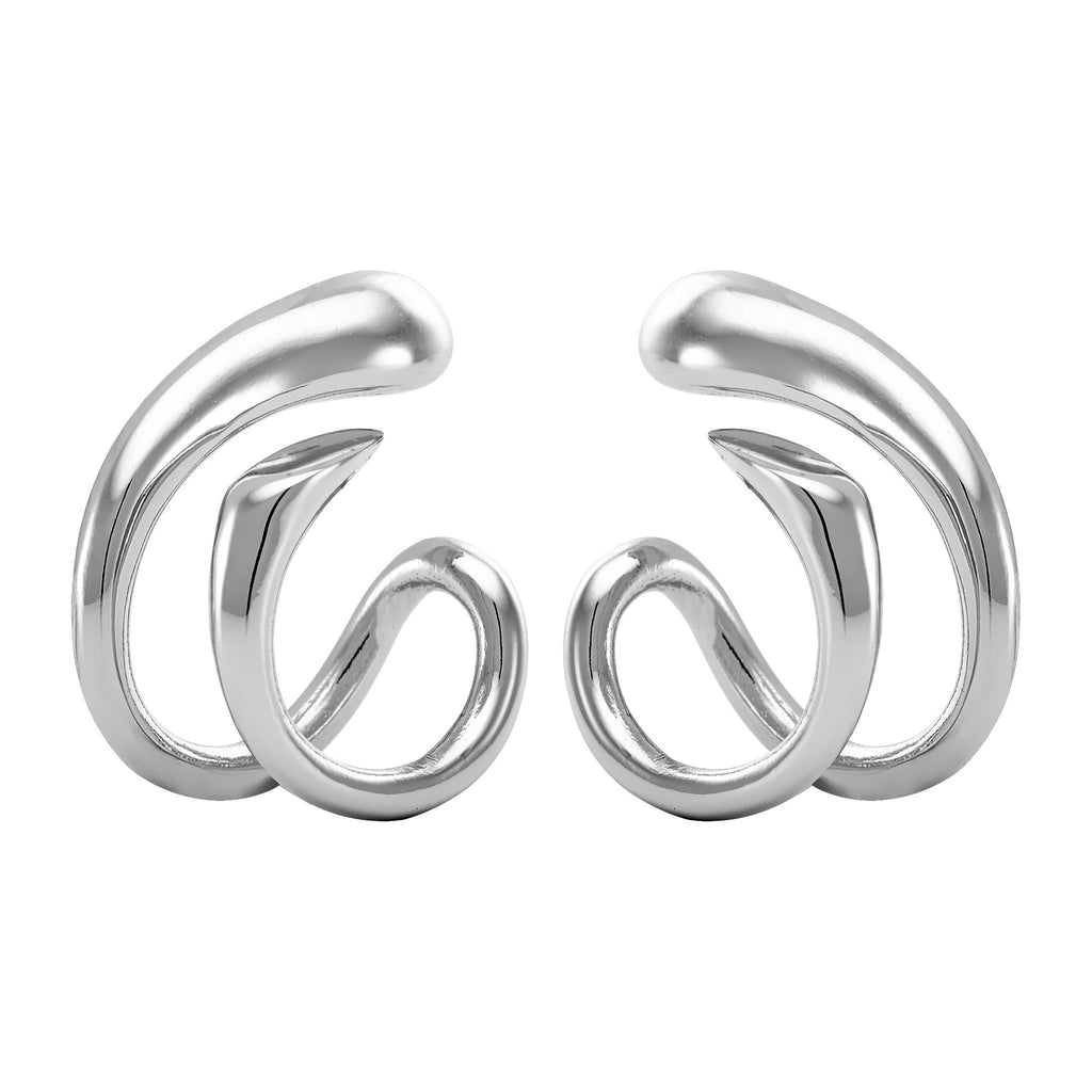 Bellona | Hug Earclips | 925 Silver | White Rhodium Plated - Spirito Rosa | Βραβευμένα Κοσμήματα σε Απίστευτες Τιμές