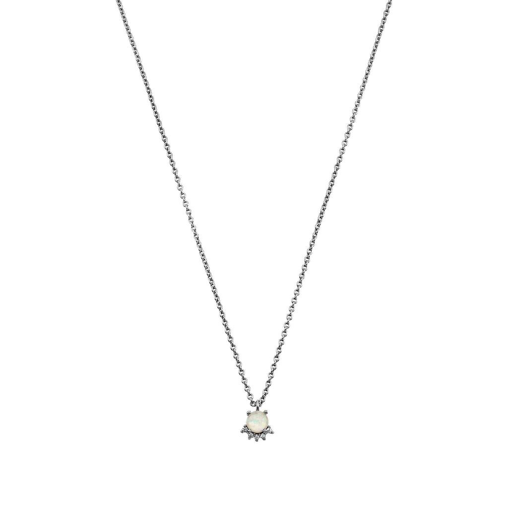 Bellona | Moon Necklace | Opal / White CZ | 925 Silver | White Rhodium Plated - Spirito Rosa | Βραβευμένα Κοσμήματα σε Απίστευτες Τιμές