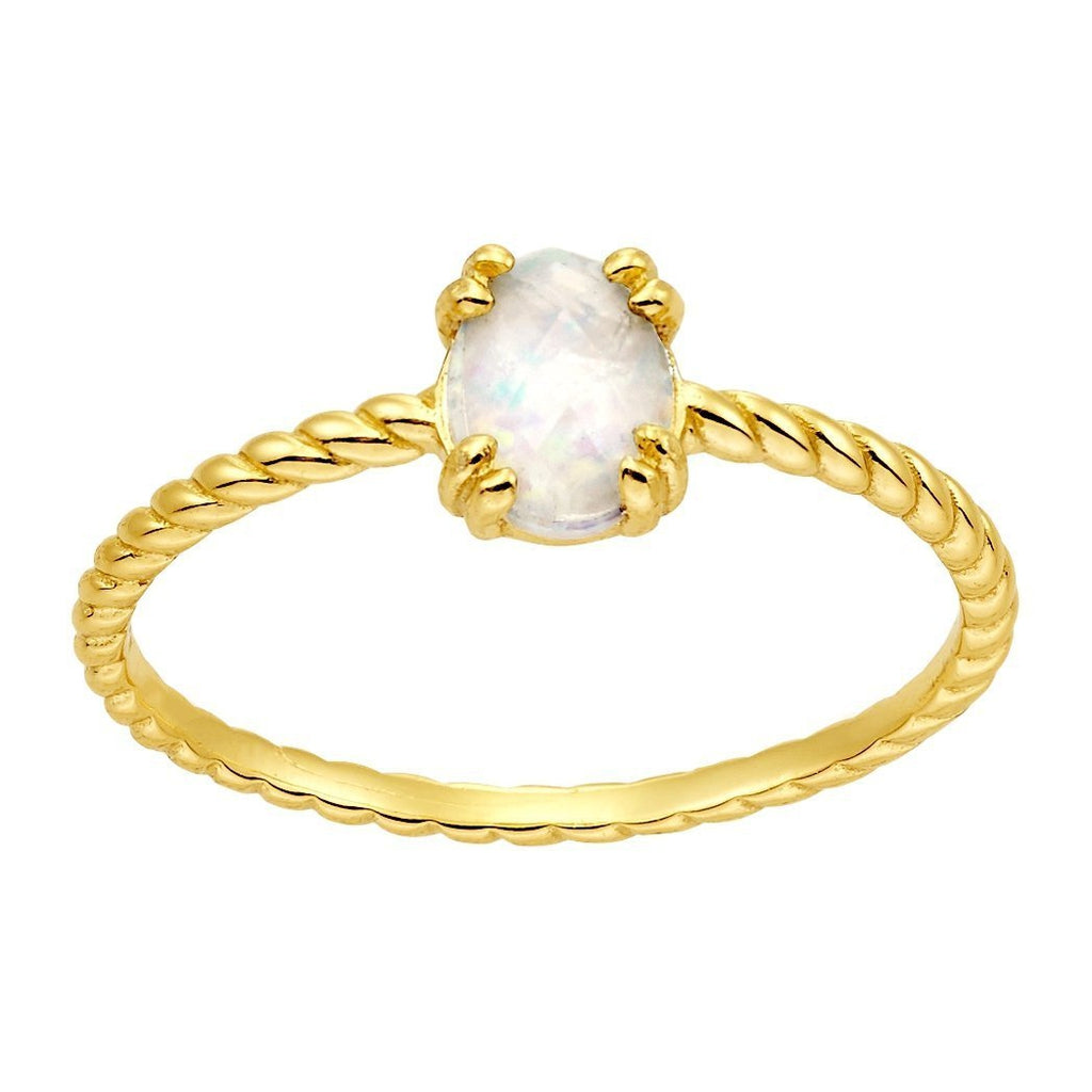 Bellona | Moon Ring | Opal | 925 Silver | 14K Gold Plated - Spirito Rosa | Βραβευμένα Κοσμήματα σε Απίστευτες Τιμές