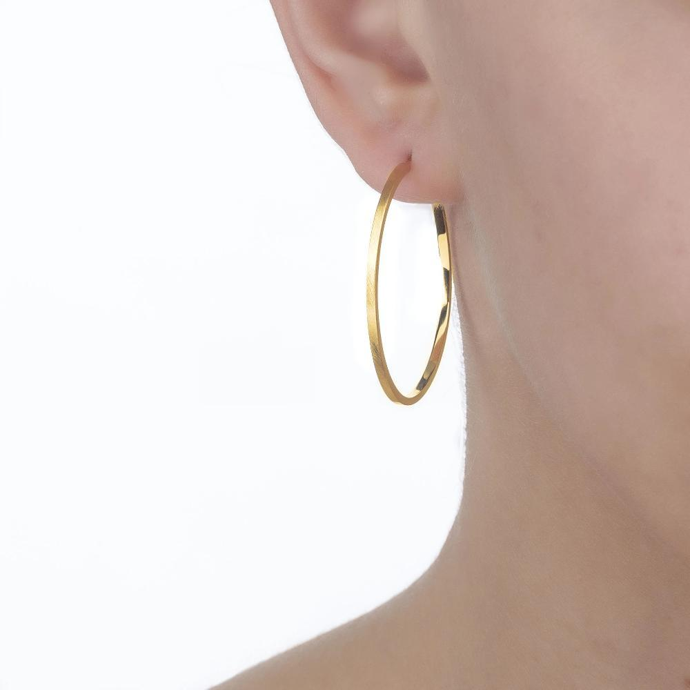 Bellona | Saturn Hoops | 925 Silver | 14K Gold Plated - Spirito Rosa | Βραβευμένα Κοσμήματα σε Απίστευτες Τιμές