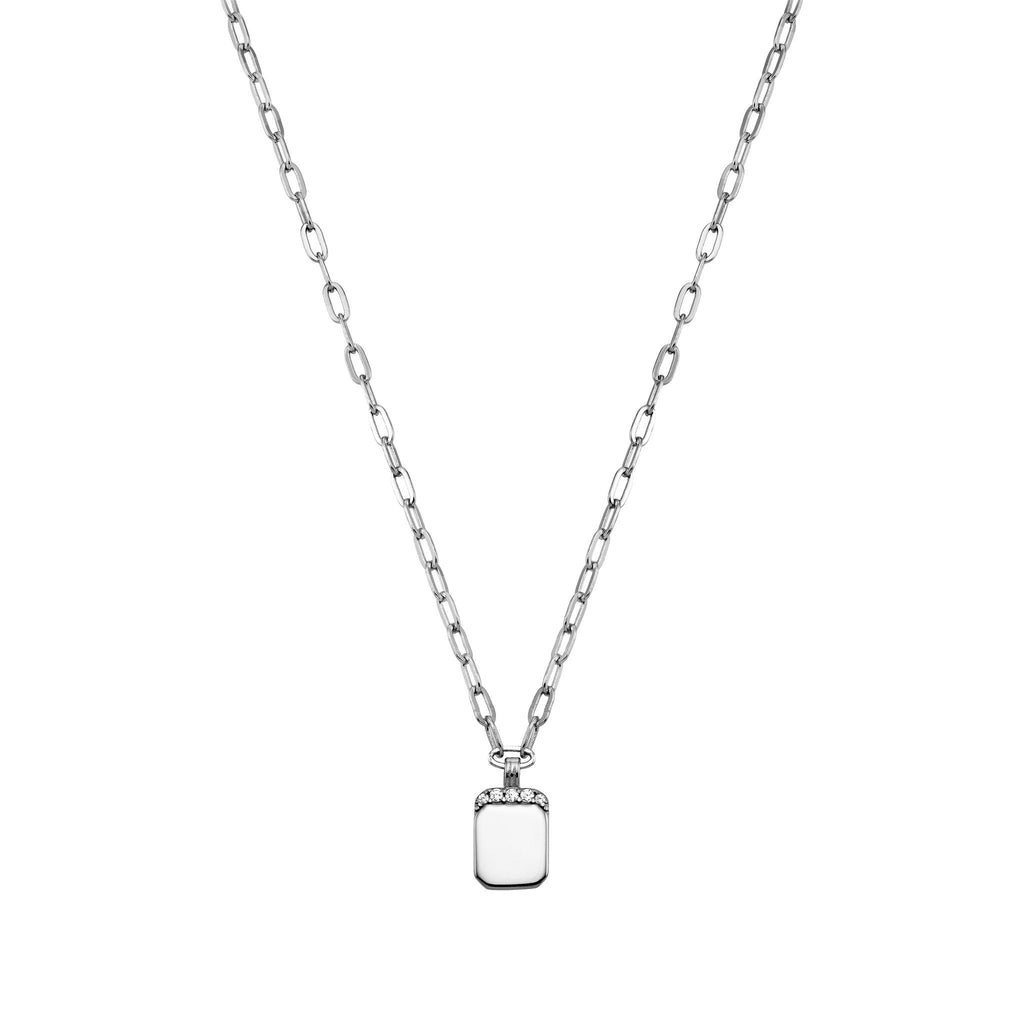 Bellona | Small Id Necklace | White CZ | 925 Silver | White Rhodium Plated - Spirito Rosa | Βραβευμένα Κοσμήματα σε Απίστευτες Τιμές