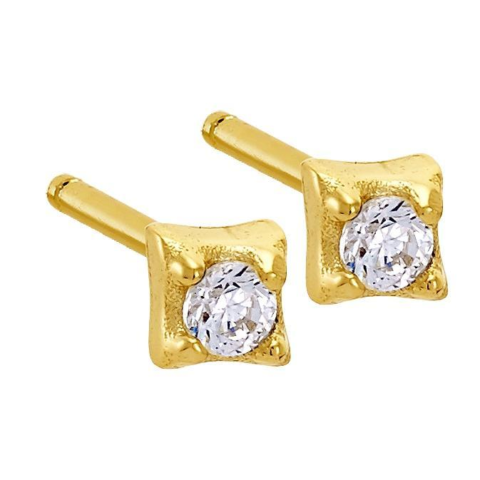 Bellona | Sparkly Studs | White CZ | 925 Silver | 14K Gold Plated - Spirito Rosa | Βραβευμένα Κοσμήματα σε Απίστευτες Τιμές