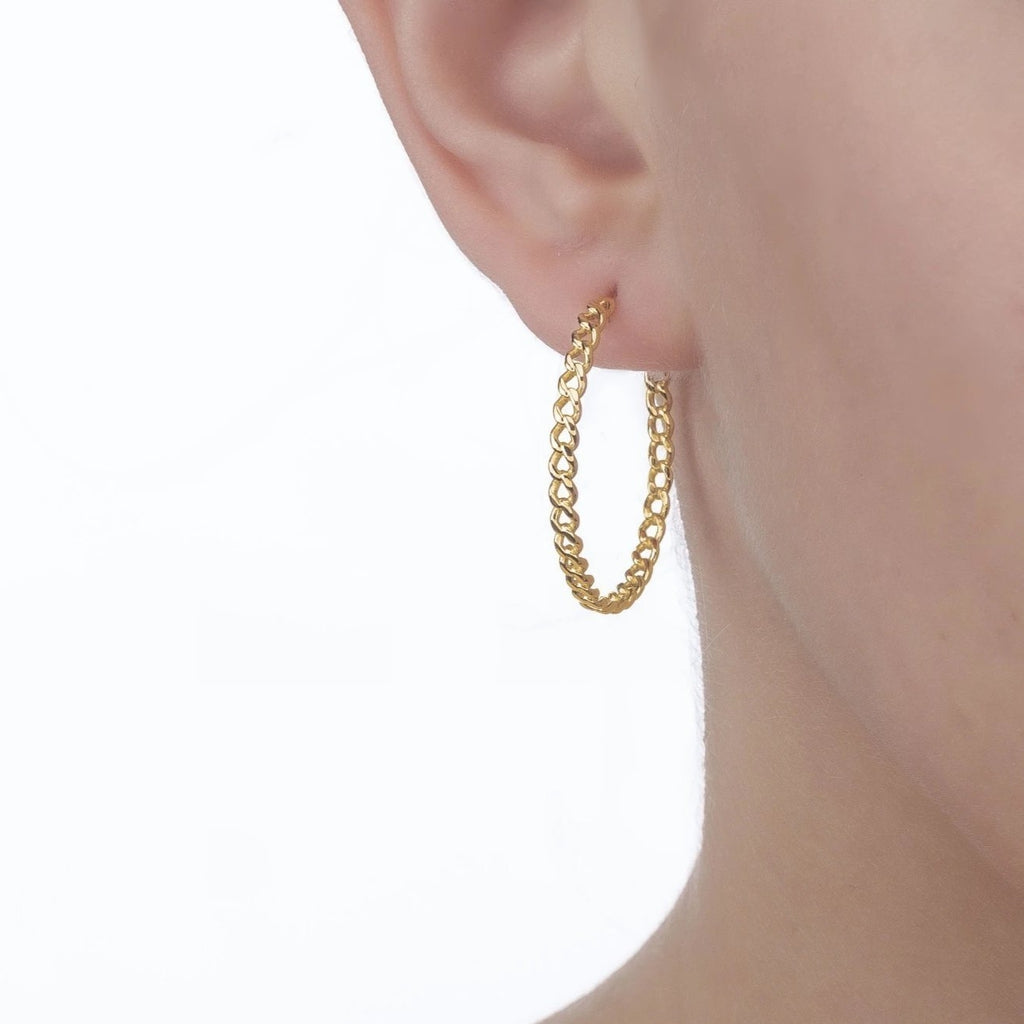 Bellona | Sun Big Hoops | 925 Silver | 14K Gold Plated - Spirito Rosa | Βραβευμένα Κοσμήματα σε Απίστευτες Τιμές