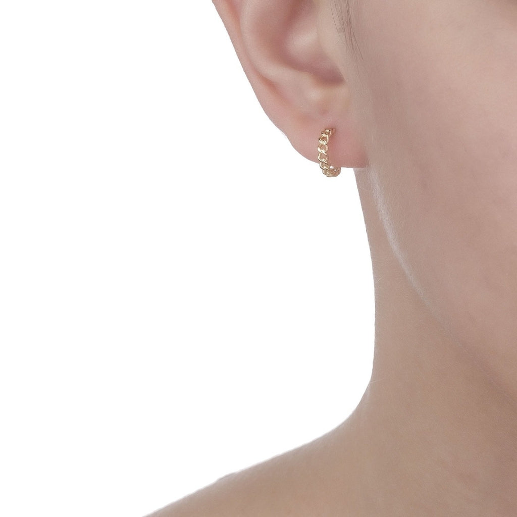 Bellona | Sun Small Hoops | 925 Silver | 14K Gold Plated - Spirito Rosa | Βραβευμένα Κοσμήματα σε Απίστευτες Τιμές