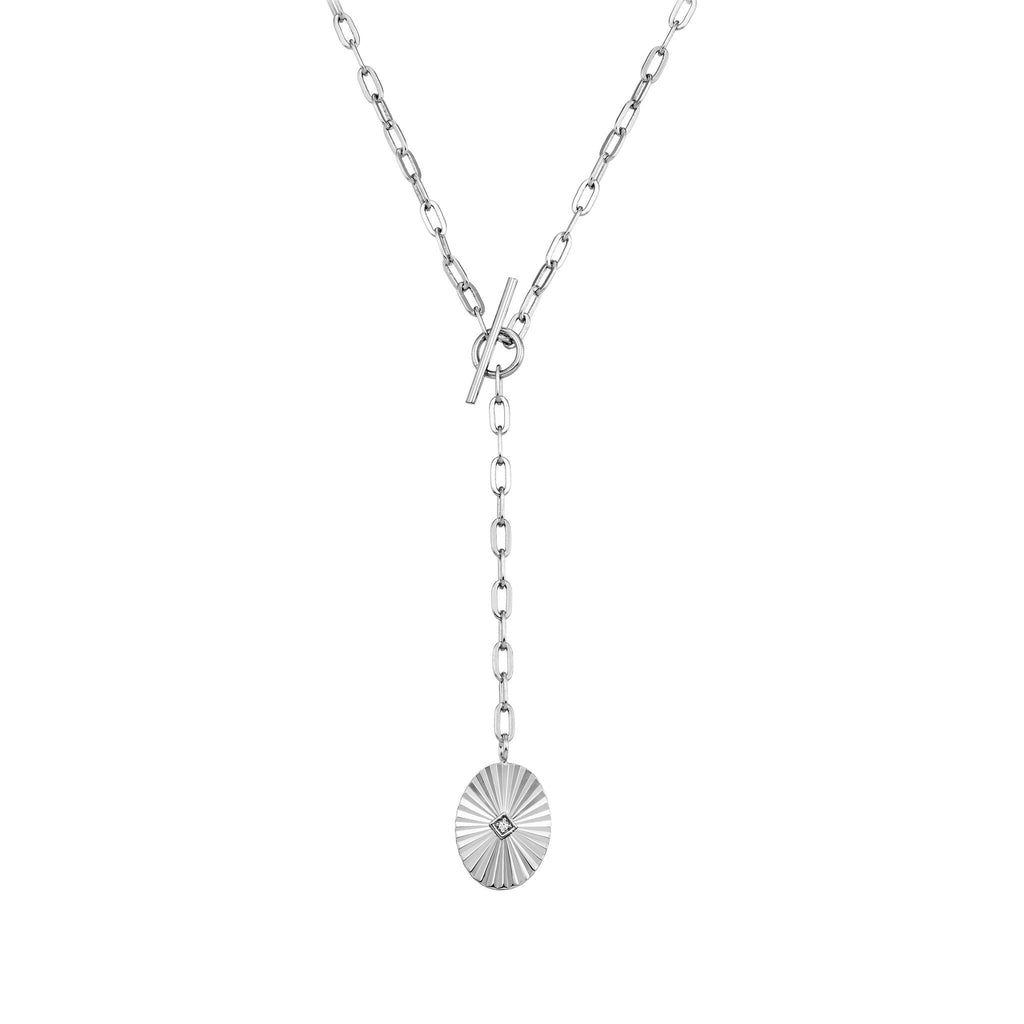 Bellona | Uranus Long Necklace | Opal | 925 Silver | White Rhodium Plated - Spirito Rosa | Βραβευμένα Κοσμήματα σε Απίστευτες Τιμές