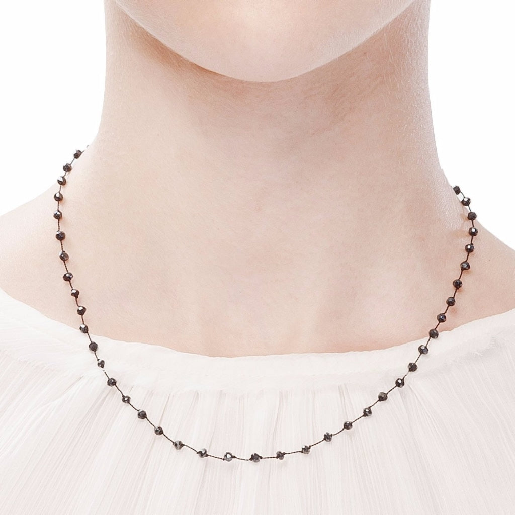 "Black Spinel ""Diamond Polish"" Rosary Style Short Necklace with Black Thread - Spirito Rosa 