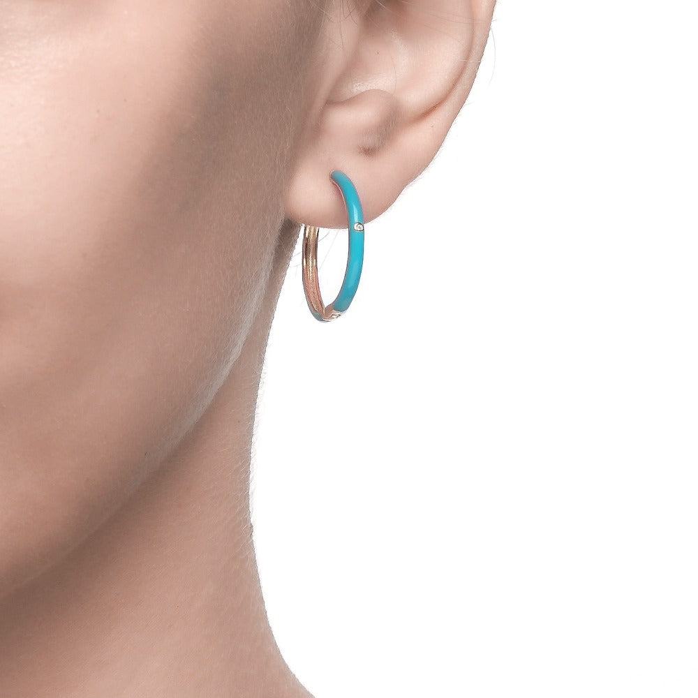 Salacia | Kefalonia earrings (big) | 925 Silver | White CZ & Turquoise Enamel | 18K Gold Plated