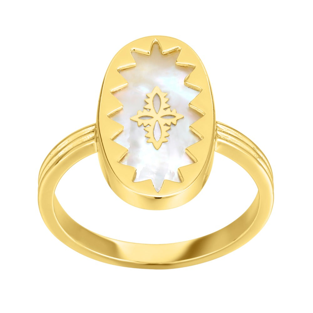 Spirito Rosa x Queen Dina Fall | Thalassa Ring | 925 Silver | Mother of Pearl | 14K Gold Plated