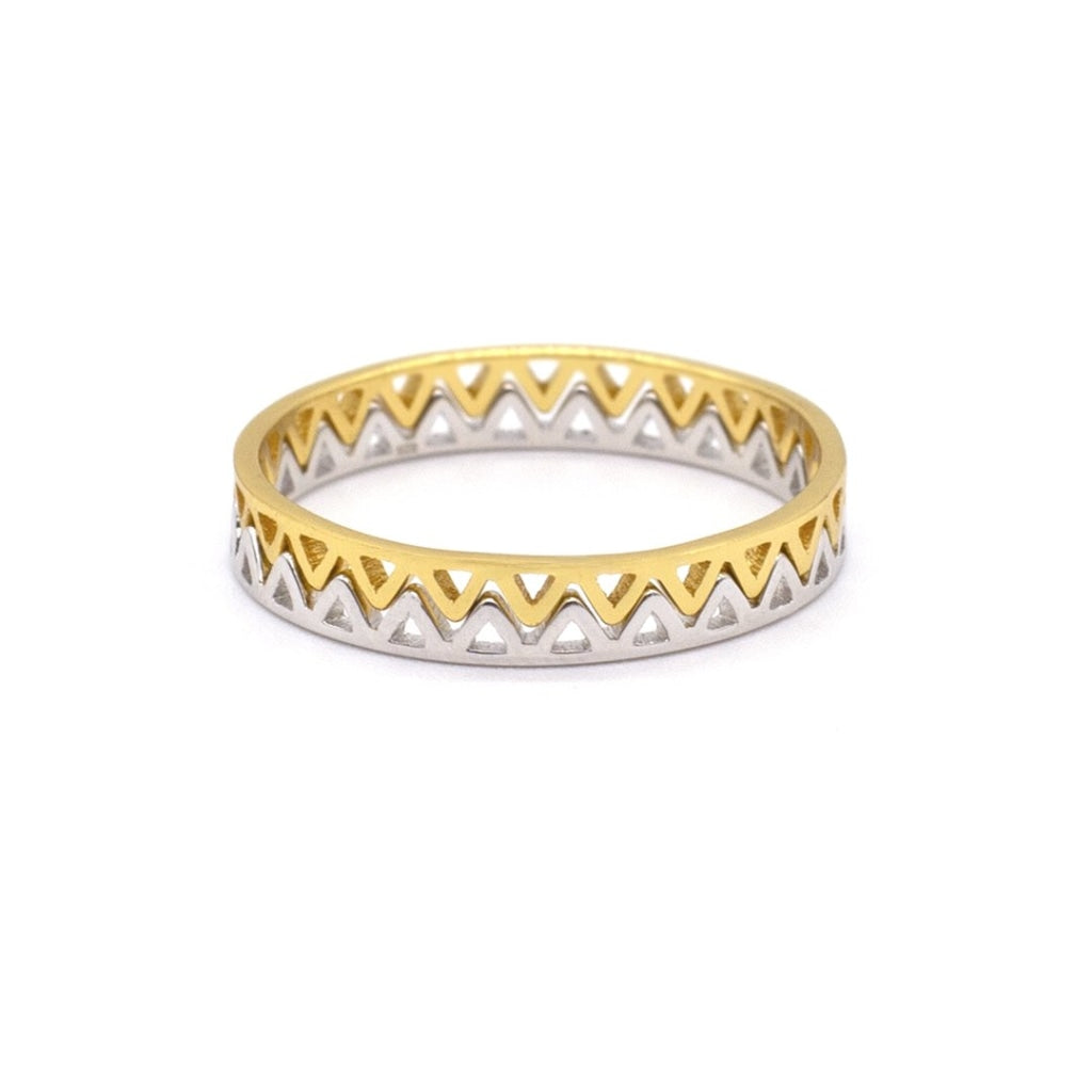 Clementia - Double Crown Ring White Rhodium & Gold Plated Silver