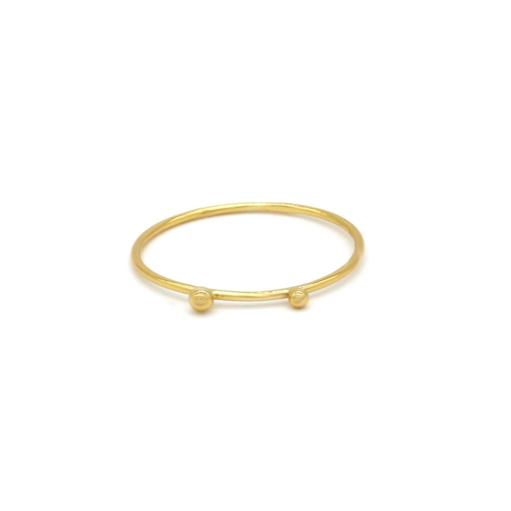 Clementia - Double Sphere Ring Gold Plated Silver