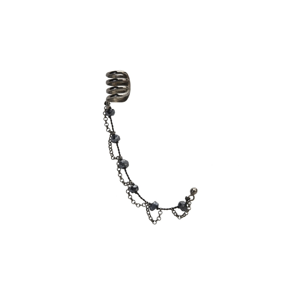 Corpus Ear Cuff - Black Spinel Thread & Rhodium Plated Silver Earring