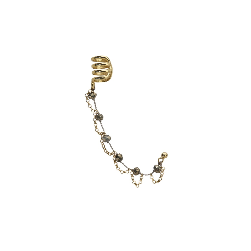 Corpus Ear Cuff - Pyrite Grey Thread & Gold Plated Silver Earring