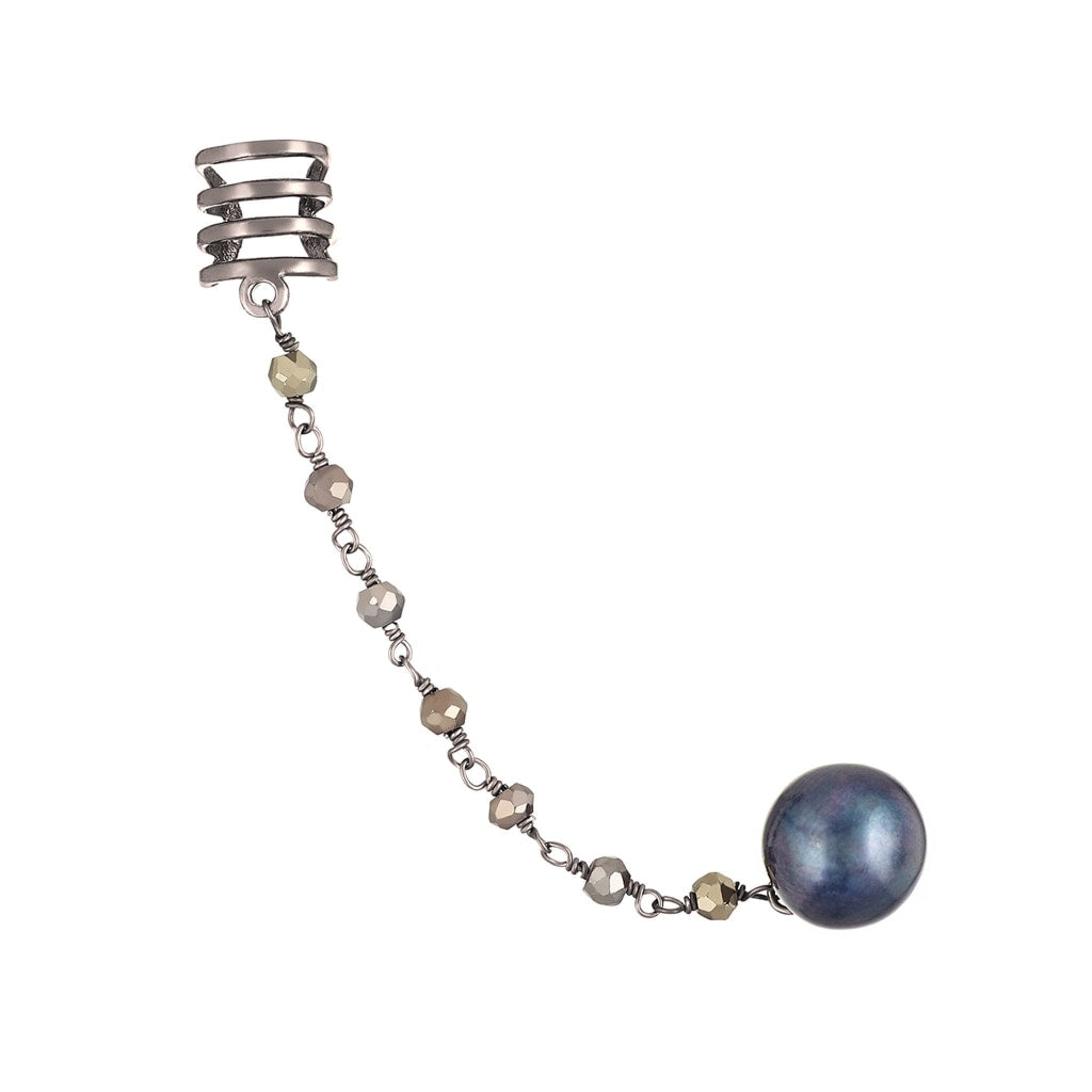 Corpus Ear Cuff Stus - Pyrite & Black Pearl Rhodium Plated Silver Earring