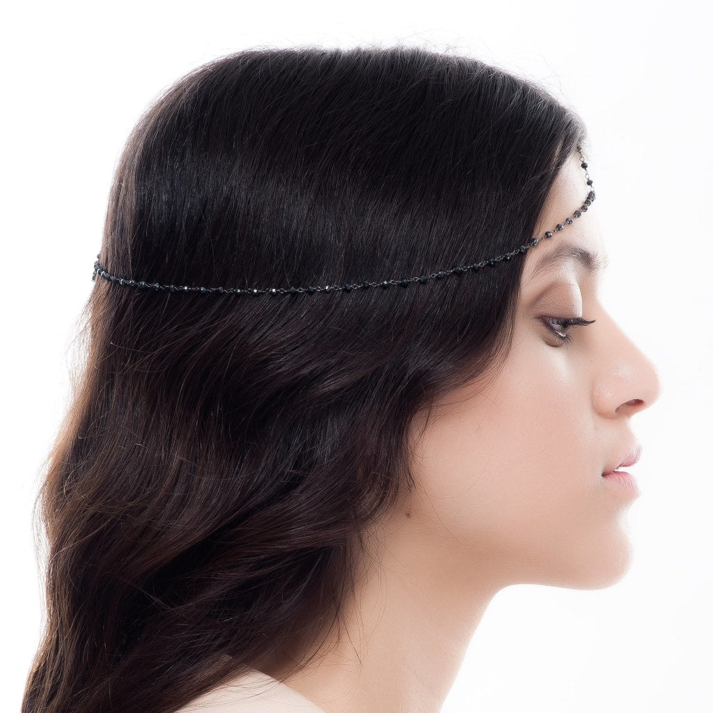Corpus Hair Wreath - Black Spinel Rhodium Plated Silver Jewellery