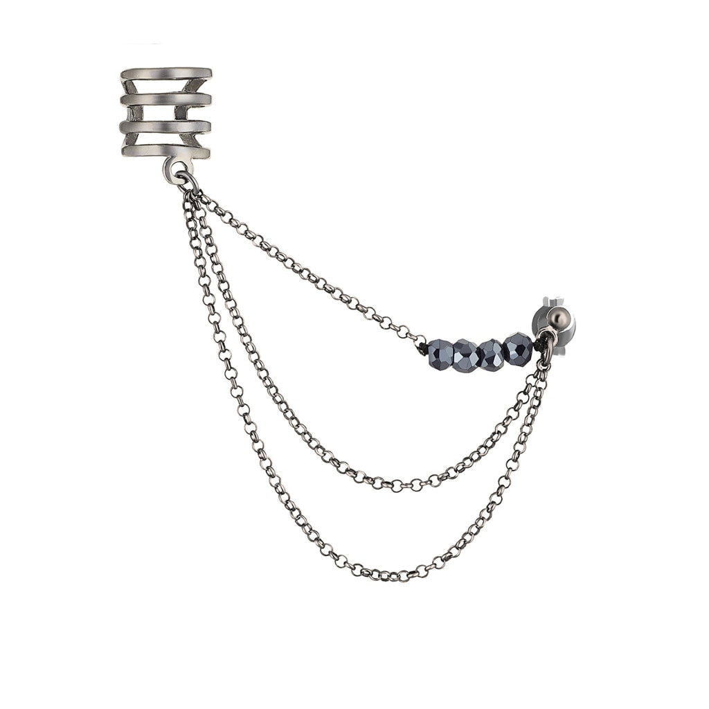 Corpus Tantum Ear Cuff - Black Spinel Rhodium Plated Silver Earring