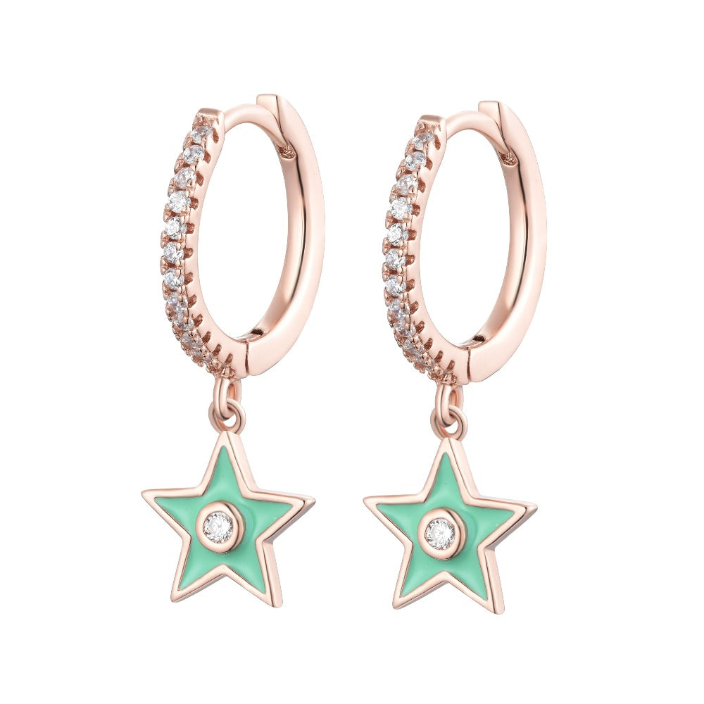 Salacia | Paros Earrings | 925 Silver | White CZ & Apple Green Enamel | Rose Gold Plated