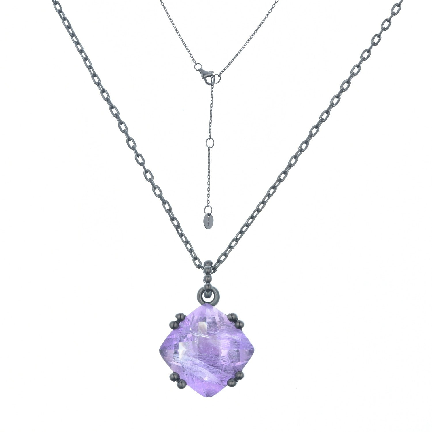 Fortuna | Prato Necklace II | 925 Silver | Amethyst | Black Rhodium Plated