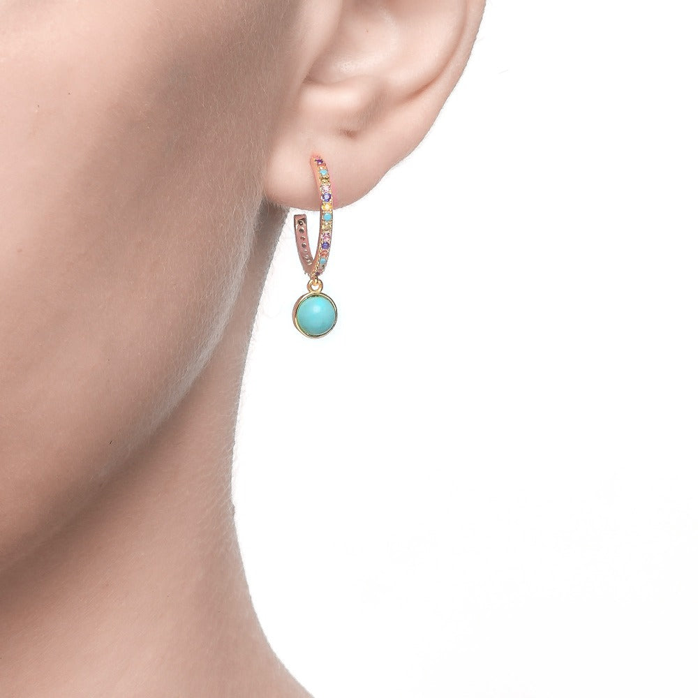 Salacia | Mykonos Earrings | 925 Silver | Multicolor CZ & Turquoise | 18K Gold Plated