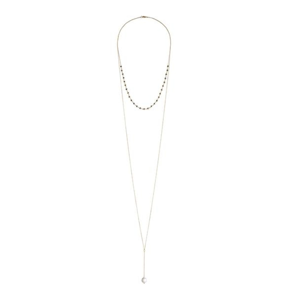Double Necklace Drop - White Pearl & Pyrite Gold Plated Silver