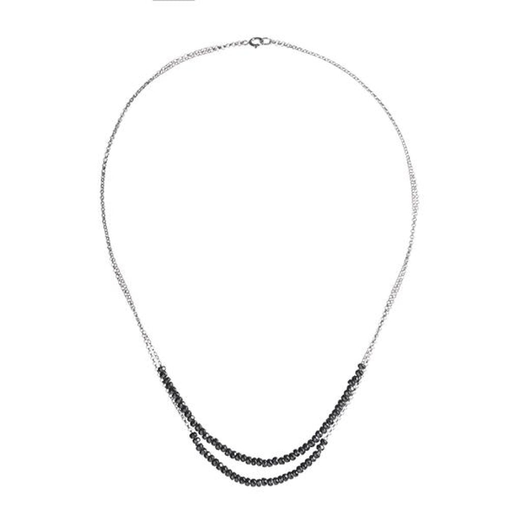 Double Tantum Short Necklace - Hematite - White Rhodium Plated Silver - Spirito Rosa | Βραβευμένα Κοσμήματα σε Απίστευτες Τιμές
