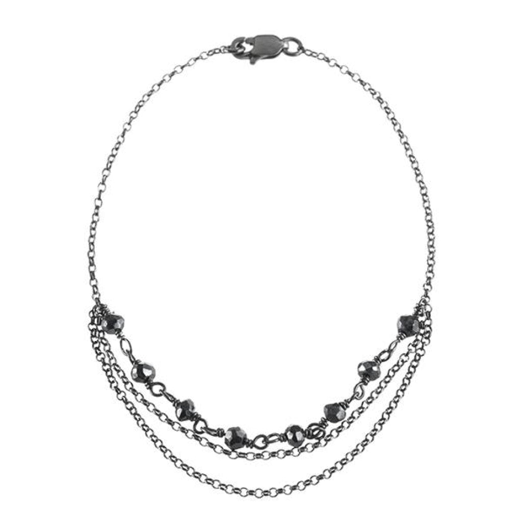Draped Bracelet - Black Spinel Rhodium Plated Silver