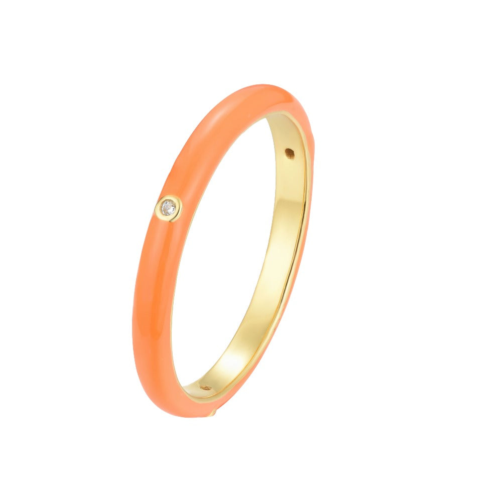 Salacia | Kefalonia Ring | 925 Silver | White CZ & Carrot Orange Enamel | 18K Gold Plated