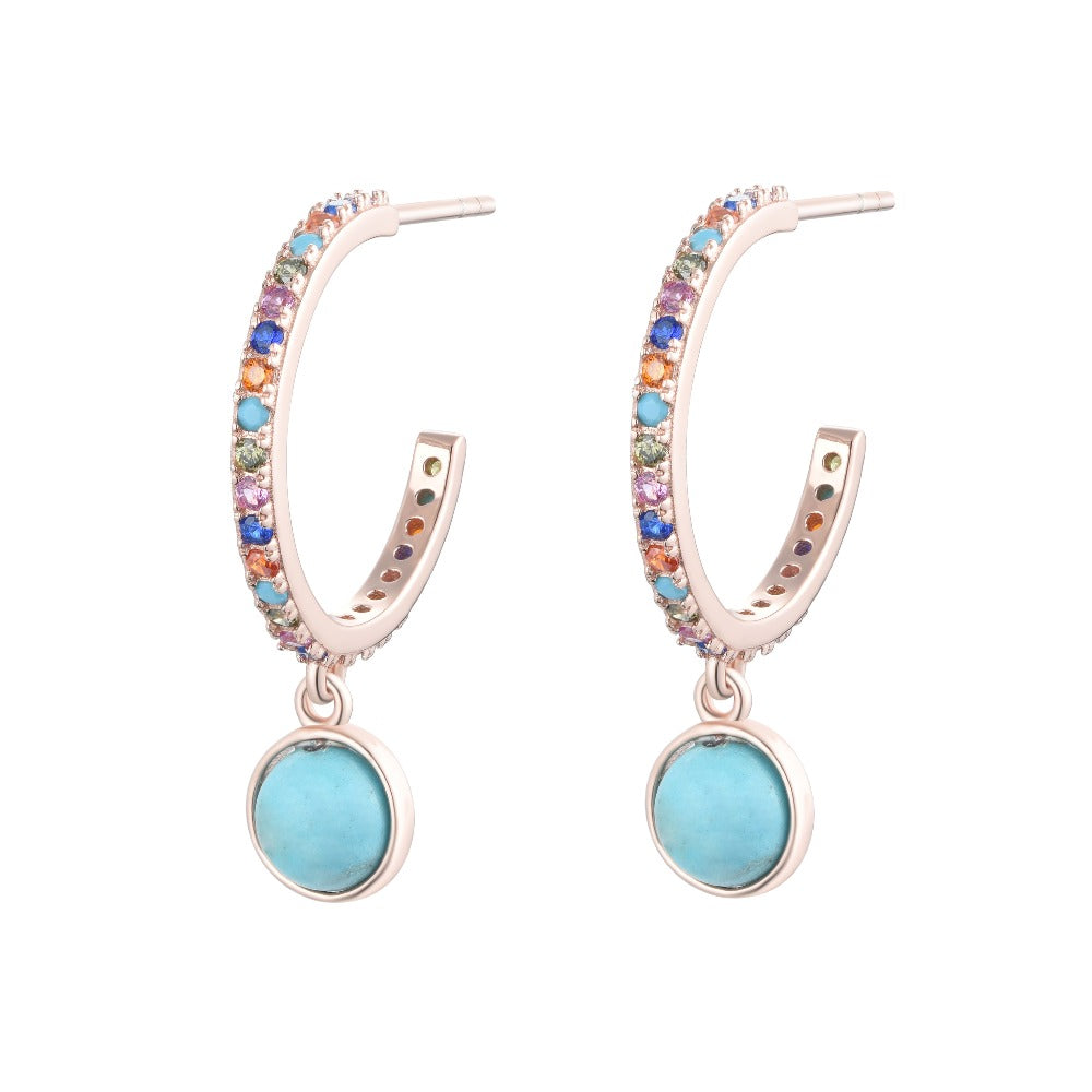 Salacia | Mykonos Earrings | 925 Silver | Multicolor CZ & Turquoise | Rose Gold Plated