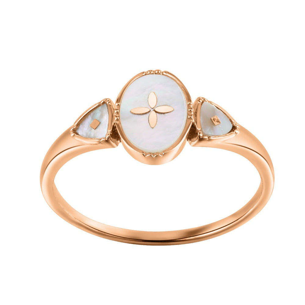 Spirito Rosa x Queen Dina Fall | Oceane Ring | 925 Silver | Mother of Pearl | Rose Gold Plated