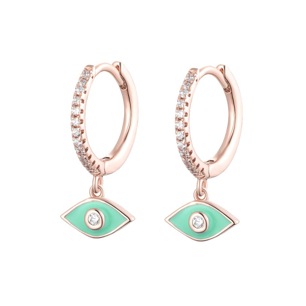 Salacia | Sifnos Earrings | 925 Silver | White CZ & Apple Green Enamel | Rose Gold Plated