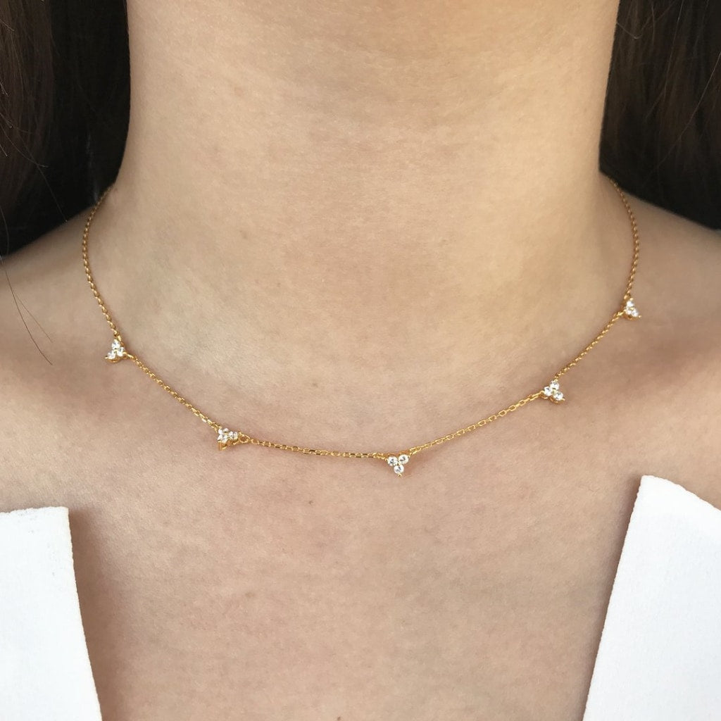 Feronia - Cinque Triangle Chain Necklace White Cz Gold Plated Silver