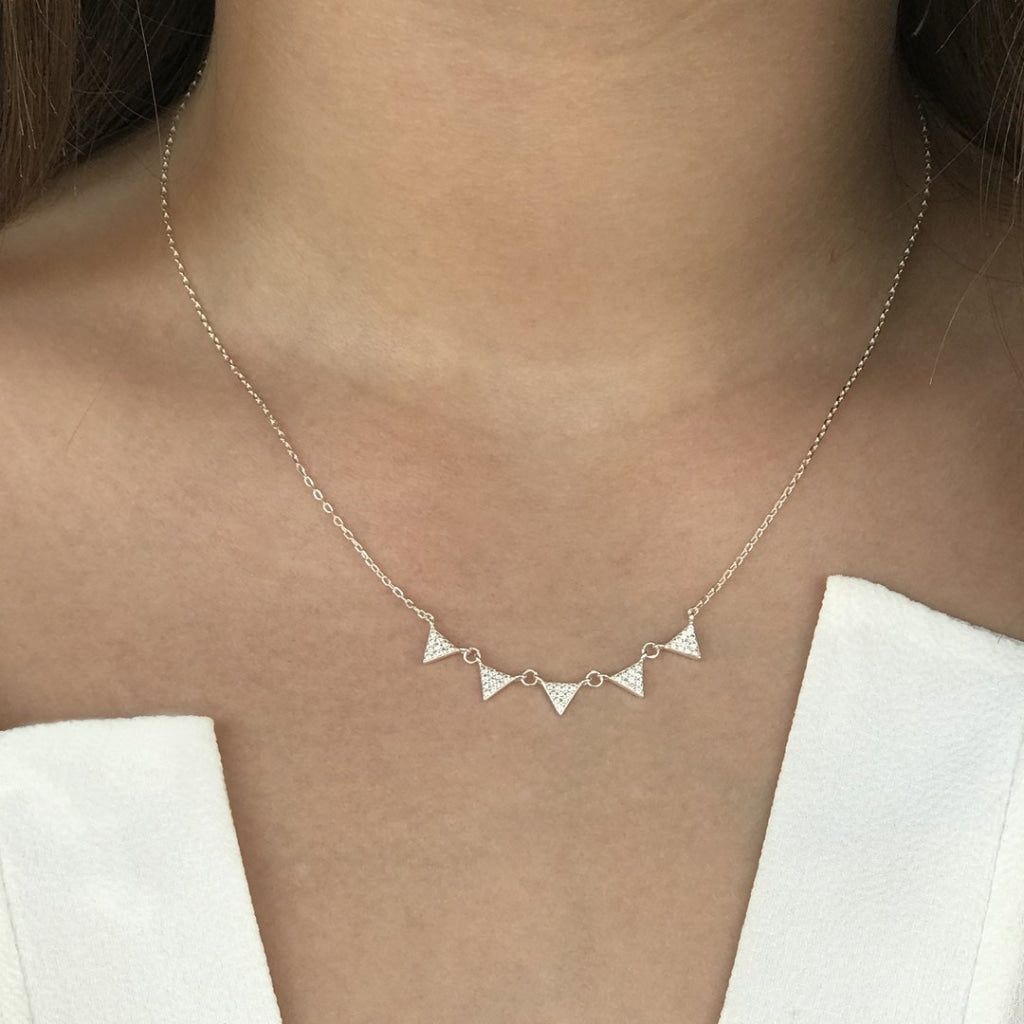 Feronia - Cinque Triangle Short Necklace White Cz Rhodium Plated Silver