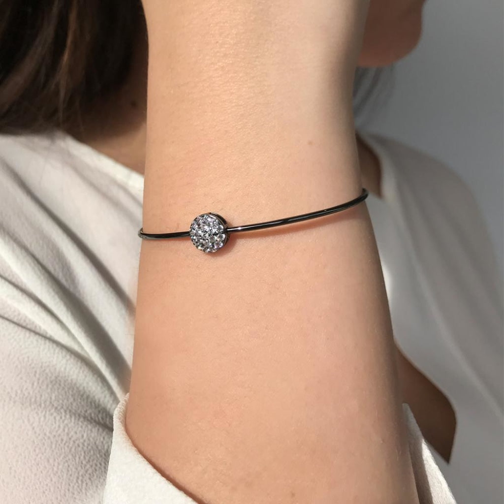 Feronia - Circle Shine Bangle - White CZ - Black Rhodium Plated Silver