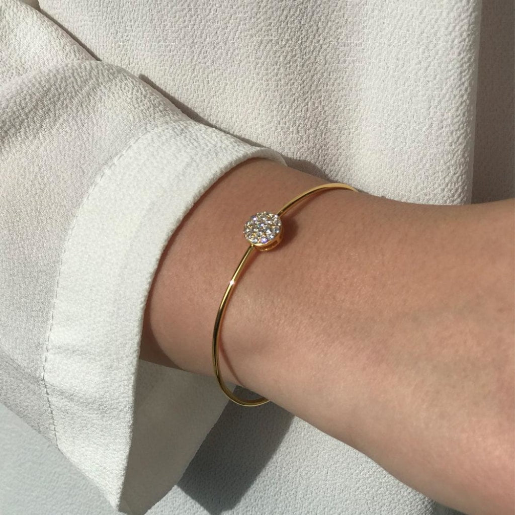 Feronia - Circle Shine Bangle White Cz Gold Plated Silver