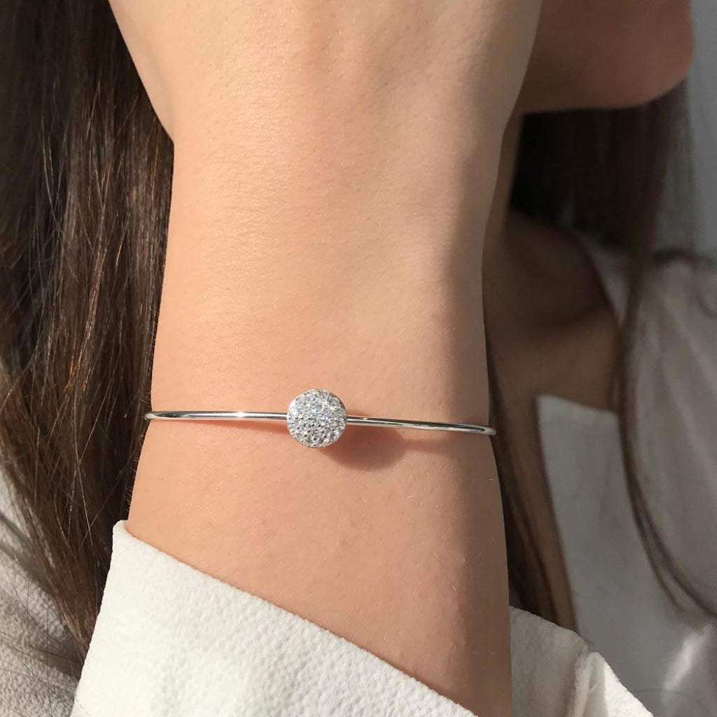 Feronia - Circle Shine Bangle White Cz Rhodium Plated Silver