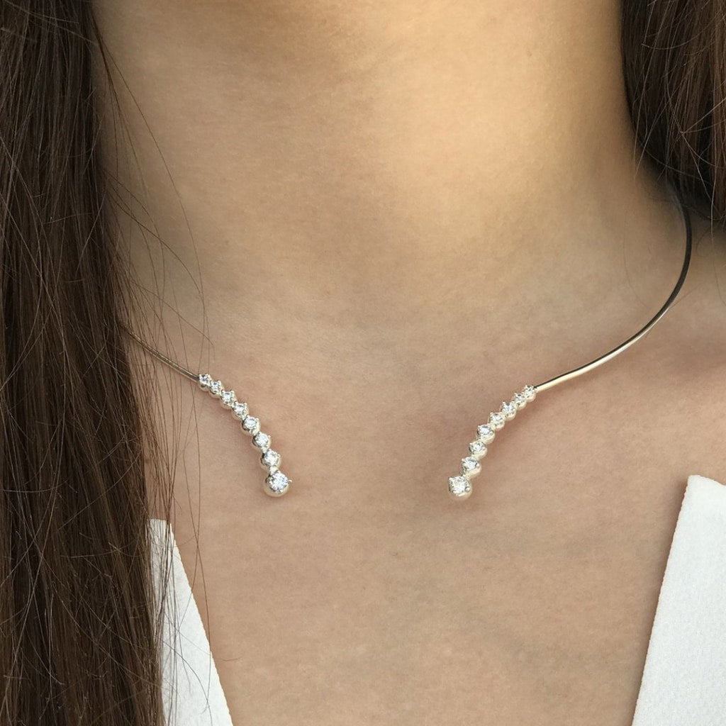 Feronia - Enchante Choker White Cz Rhodium Plated Silver Chocker